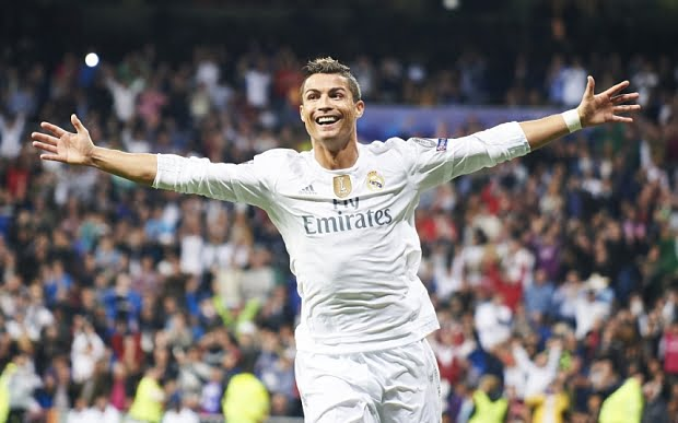 Mandatory Credit: Photo by REX Shutterstock (5081683am)  Cristiano Ronaldo (forward, Real Madrid F.C.) celebrates a goal during the UEFA Champions League match between Real Madrid and FC Shakhtar Donetsk at Santiago Bernabeu on September 15, 2015 in Madrid  Real Madrid v Shakhtar Donetsk, UEFA Champions League Group A, Football, Santiago Bernabeu, Spain - 15 Sep 2015